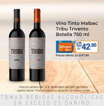 Vino Tinto Malbec Tribu Trivento Botella 750 ml