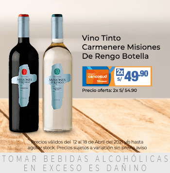 Vino Tinto Carmenere Misiones De Rengo Botella 750 ml