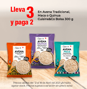 Leva 3 y Paga 2 en Avena Tradicional, Maca o Quinua Cuisine&Co Bolsa 300 g