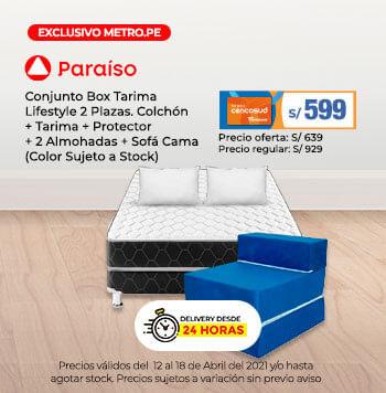 Conjunto Box Tarima Lifestyle 2 Plazas. Colchón + Tarima + 2 Almohadas + Protector + Sofá Cama (Color Sujeto a Stock)(Despacho desde 24Hrs)