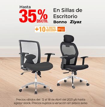 Hasta 35% + 10% con TCen Sillas de Escritorio (Colocar logo Bonno, Ziyaz)