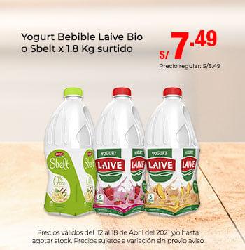 Yogurt Bebible Laive Bio o Sbelt x 1.8 Kg surtido a 7.49