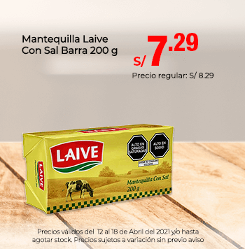 Mantequilla Laive Con Sal Barra 200 g a 7.29