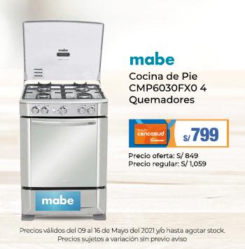 Mabe Cocina de Pie CMP6030FX0 4 Quemadores
