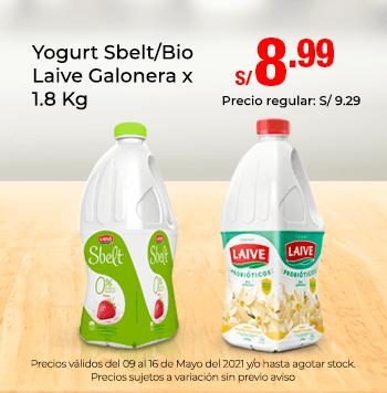 Yogurt Sbelt/Bio Laive Galonera x 1.8 Kg