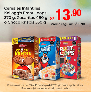 Cereales Infantiles Kellogg's Froot Loops 370 g, Zucaritas 480 g o Choco Krispis 550 g