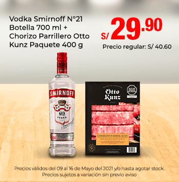 Vodka Smirnoff N°21 Botella 700 ml + Chorizo Parrillero Otto Kunz Paquete 400 g