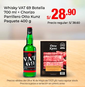 Whisky VAT 69 Botella 700 ml + Chorizo Parrillero Otto Kunz Paquete 400 g