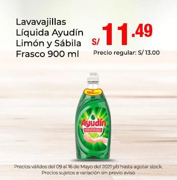 Lavavajillas Líquida Ayudín Limón y Sábila Frasco 900 ml