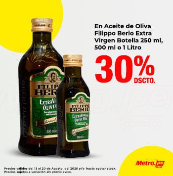 30% Dcto En Aceite de Oliva Filippo Berio Extra Virgen Botella 250 ml, 500 ml o 1 Litro
