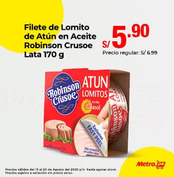 Filete de Lomito de Atún en Aceite Robinson Crusoe Lata 170 g