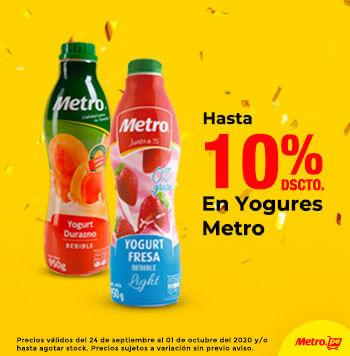 Hasta 10% en Yogures Metro