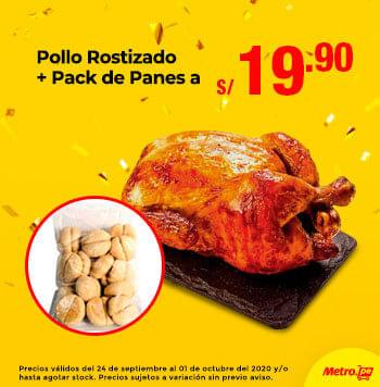 Pollo Rostizado + Pack de Panes a S/.19.90