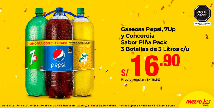Gaseosa Pepsi, 7Up y Concordia Sabor Piña Pack 3 Botellas de 3L c/u