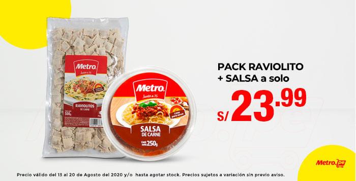 PACK RAVIOLITO   SALSA a solo S/. 23.99