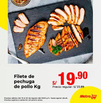 Filete de pechuga de pollo x Kg