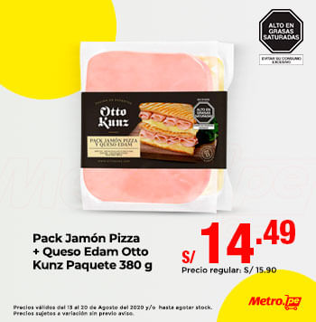 Pack Jamón Pizza  + Queso Edam Otto Kunz Paquete 380 g