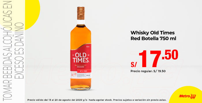 Whisky Old Times Red Botella 750 ml