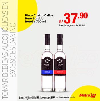 Pisco Cuatro Gallos Puro Surtido Botella 700 ml