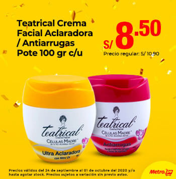 Teatrical Crema Facial Aclaradora / Antiarrugas Pote 100gr c/u