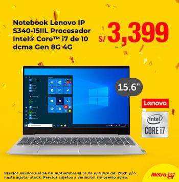 Notebook Lenovo IP S340-15IIL Procesador Intel® Core™ i7 de 10 dcma Gen 8G 4G