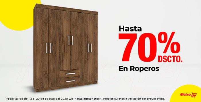 Hasta 70% en Roperos