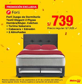 Forli Juego de Dormitorio Textil Elegant 2 Plazas Hombre/Mujer