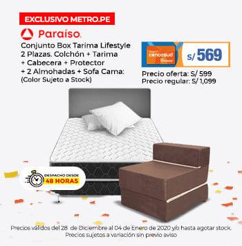 Conjunto Box Tarima Lifestyle 2 Plazas. Colchón   Tarima   Cabecera   Protector   2 Almohadas   Sofá Cama: Color Sujeto a Stock (poner logo de Marca)