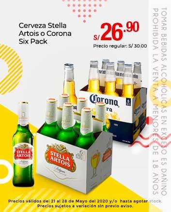 Cerveza Stella Artois o Corona Six Pack