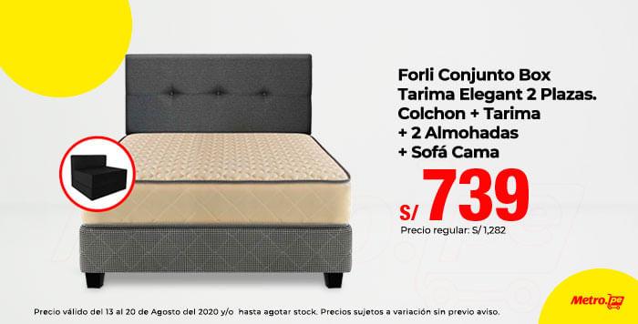 Forli Conjunto Box Tarima Elegant 2 Plazas. Colchon + Tarima + Cabecera + 2 Almohada + Sofa Cama