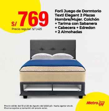 Forli Juego de Dormitorio Textil Elegant 2 Plazas Hombre / Mujer. Colchon + Tarima con Sabanera + Cabecera + Edredon + 2 Amohadas