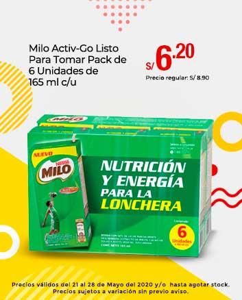 Milo Activ-Go Listo Para Tomar Pack de 6 Unidades de 165 ml c/u
