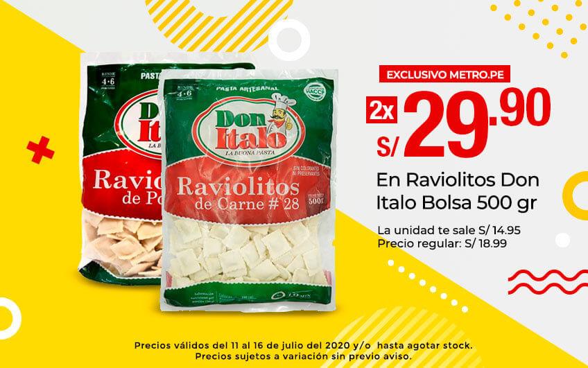 2x29.90 S/. en Raviolitos Don Italo Bolsa 500 gr