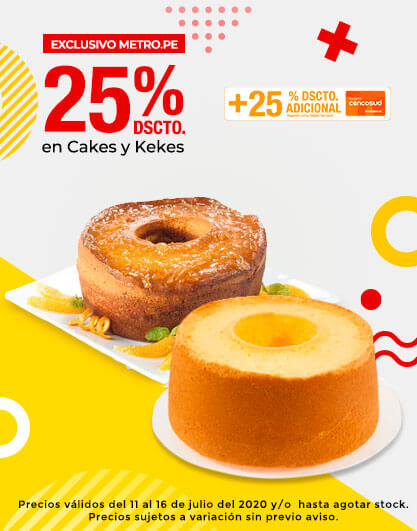 25% dscto en Cakes y Kekes