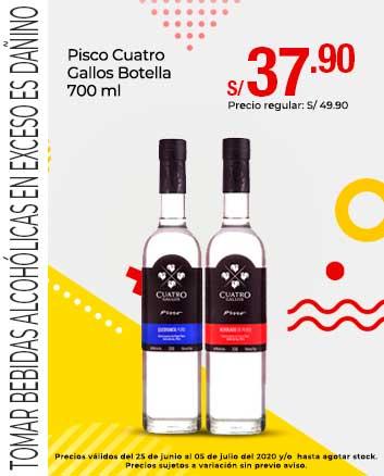 Pisco Cuatro Gallos Botella 700 ml