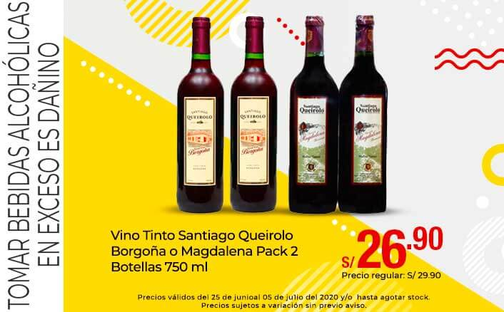 Vino Tinto Santiago Queirolo Borgoña o Magdalena Pack 2 Botellas 750 ml