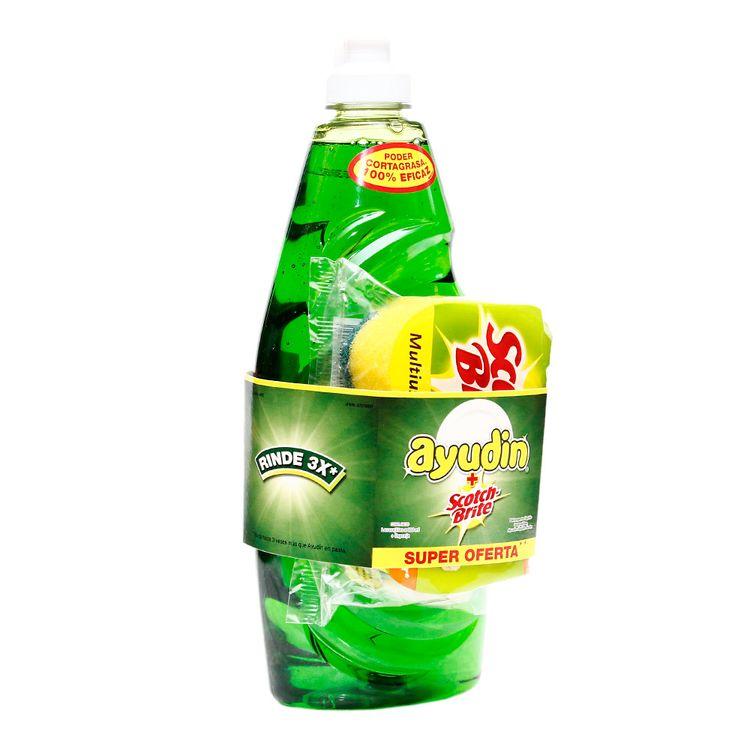Lavavajilla-Liquido-Ayudin-Limon-con-Esponja-Frasco-600-ml
