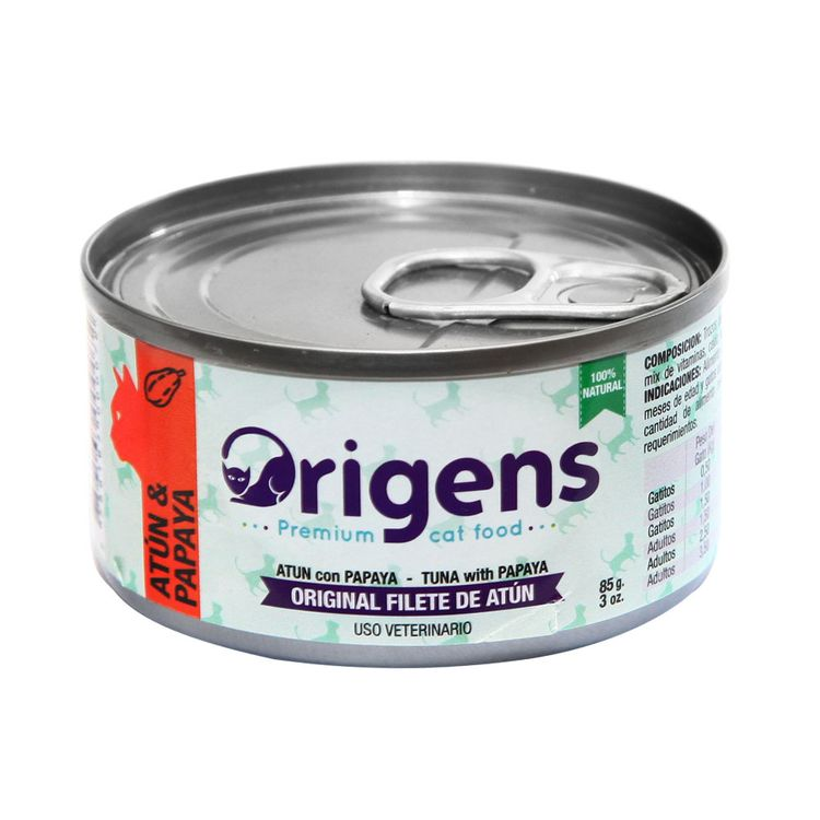 Alimento-para-Gatos-Filete-de-Atun-con-Papaya-Origens-Lata-85-g