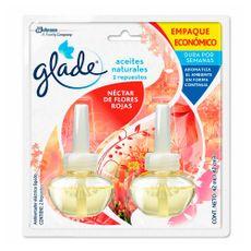Repuesto-para-Ambientador-Electrico-Liquido-Glade-Nectar-de-Flores-Rojas-Aceites-Naturales-Pack-2-Unid-x-21-ml