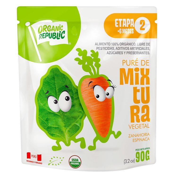 Puré Orgánico Organic Republic Espinaca Con Zanahoria Etapa 2 Doy ...
