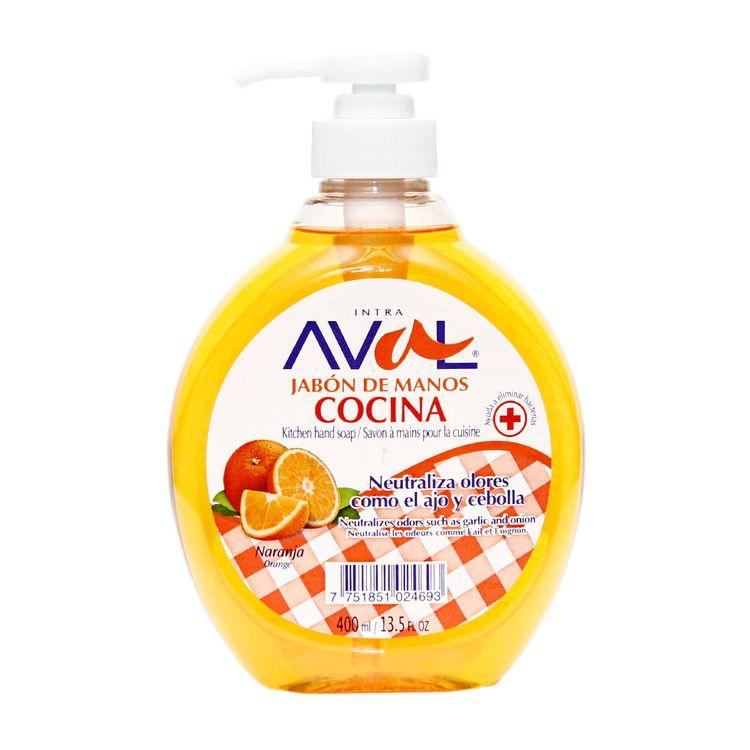 Jab n l quido de manos cocina aval naranja frasco con - Dispensador de jabon cocina ...