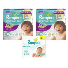 Pañales-Pampers-Premium-Care-Talla-XG--12-a-15-kg--Paquete-28-Unidades-02-Paquetes---Toallitas-Humedas-Pampers-Sensitive-Tripack-168-Unidades-1-17188141