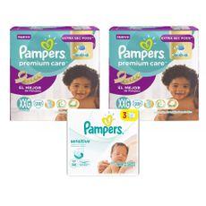Pañales-Pampers-Premium-Care-Talla-XXG----14-kg--Paquete-28-Unidades-02-Paquetes---Toallitas-Humedas-Pampers-Sensitive-Tripack-168-Unidades-1-17188142