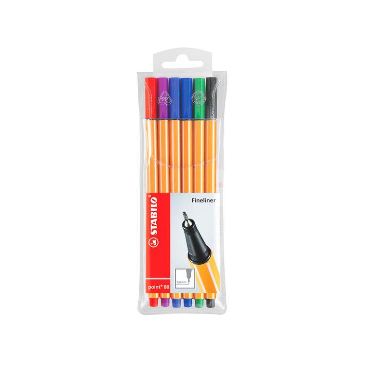Stabilo-Point-88-Fine-Pen-En-Estuche-X-6-Colores-1-27159
