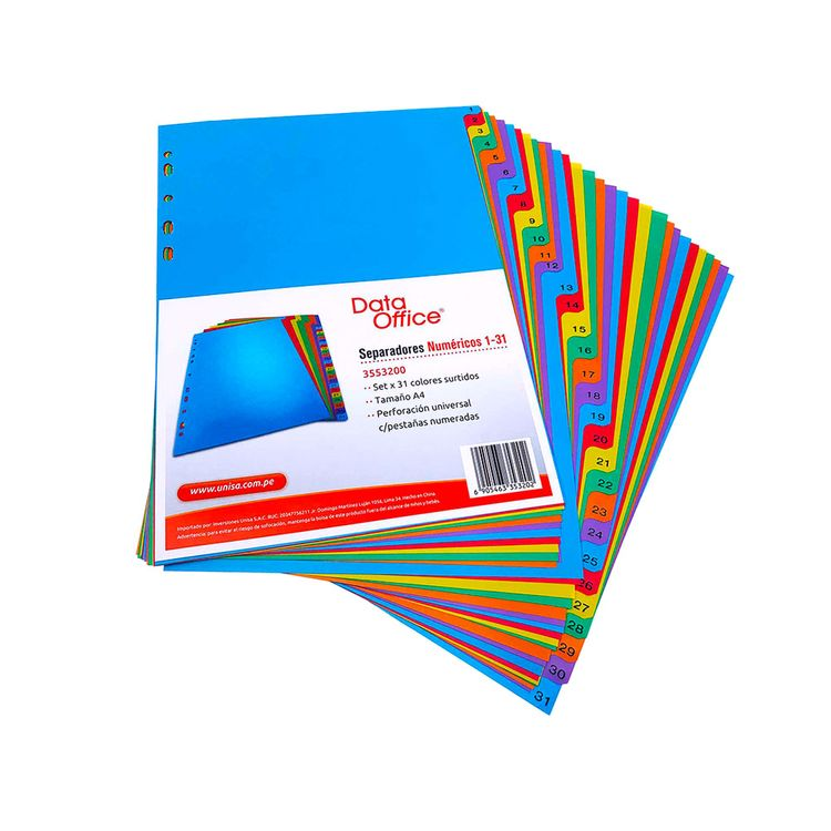 Separadores-de-Colores-Num-ricos-A4-Data-Office-Bolsa-31-Unid-1-113539