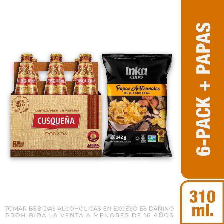Cerveza-Dorada-Cusque-a-Pack-6-Botellas-de-310-ml-c-u-Papas-Artesanales-Andinas-Saladas-Inka-Chips-Bolsa-142-g-1-208191935