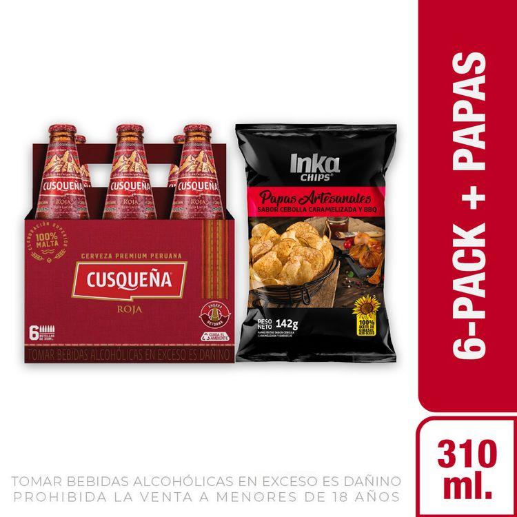 Cerveza-Cusque-a-Rojo-Pack-6-Botellas-de-310-ml-c-u-Papas-Artesanales-Sabor-Cebolla-Caramelizada-y-BBQ-Inka-Chips-Bolsa-142-g-1-208191939