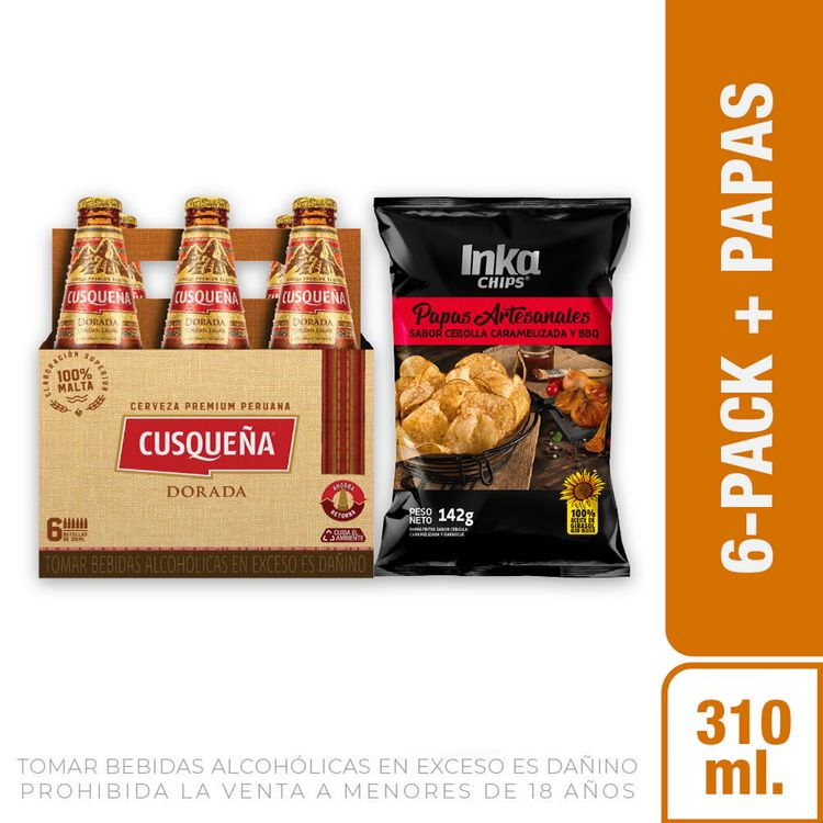 Cerveza-Dorada-Cusque-a-Pack-6-Botellas-de-310-ml-c-u-Papas-Artesanales-Sabor-Cebolla-Caramelizada-y-BBQ-Inka-Chips-Bolsa-142-g-1-208191940