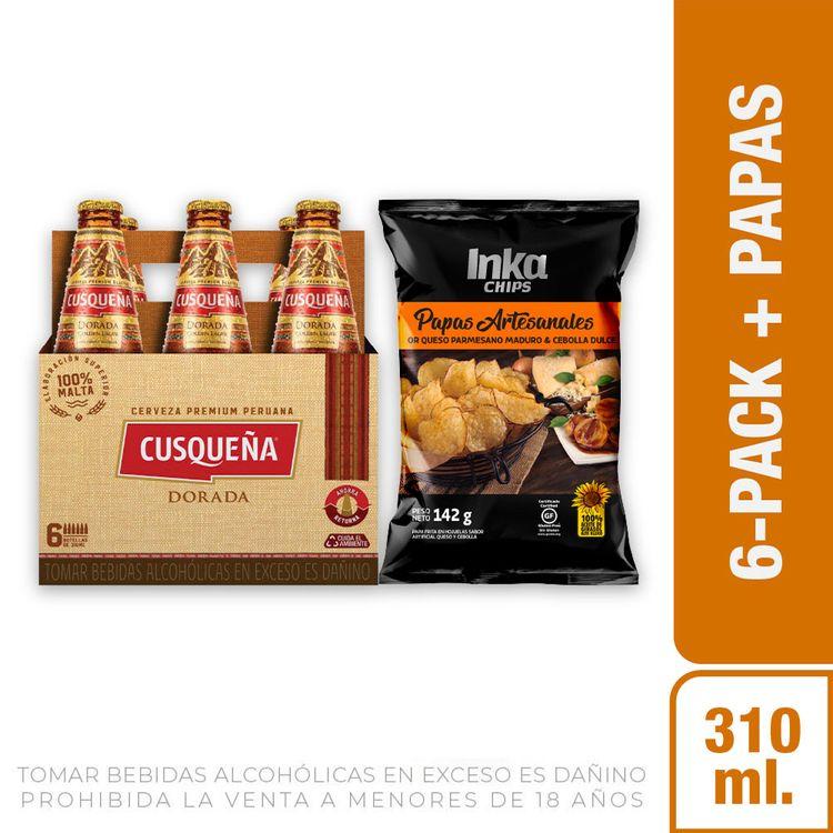 Cerveza-Dorada-Cusque-a-Pack-6-Botellas-de-310-ml-c-u-Papas-Chips-Saborizadas-Queso-Cebolla-Bolsa-142-g-1-208191948