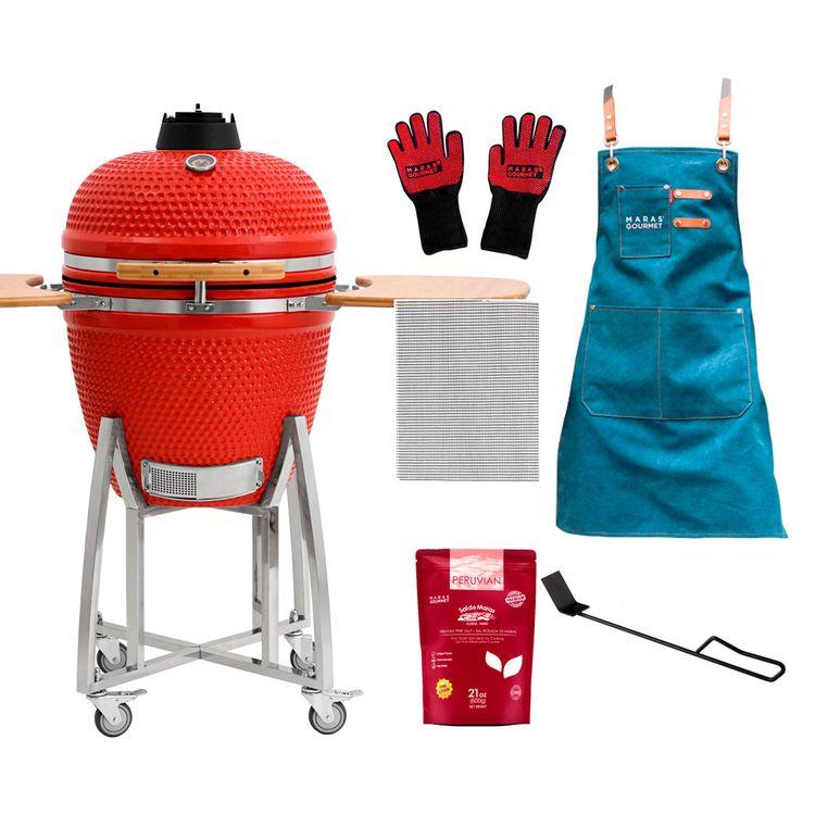 Maras-Gourmet-Starter-Kit-Rojo-Kamado-21-Pala-para-Cenizas-Malla-Antiadherente-Mandil-Sal-Guantes-1-208018794